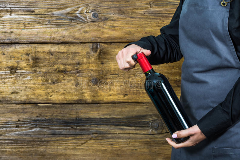Официантка предлагая красное вино стоковые изображения rf