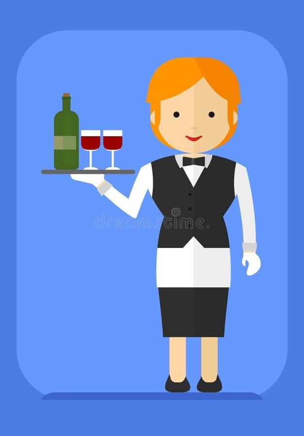 Официантка с бутылкой на подносе иллюстрация вектора