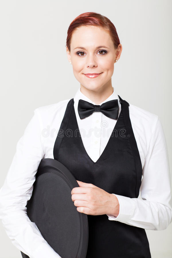 Официантка с пустым подносом стоковое изображение