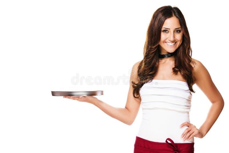 Официантка с пустым подносом стоковые изображения