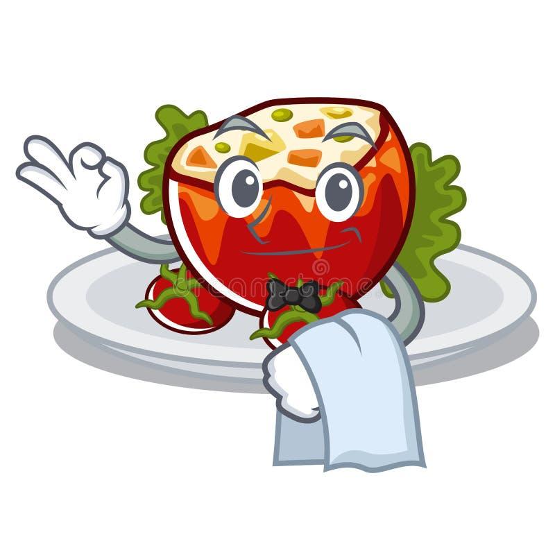 Официант заполнил томаты на доске мультфильма бесплатная иллюстрация