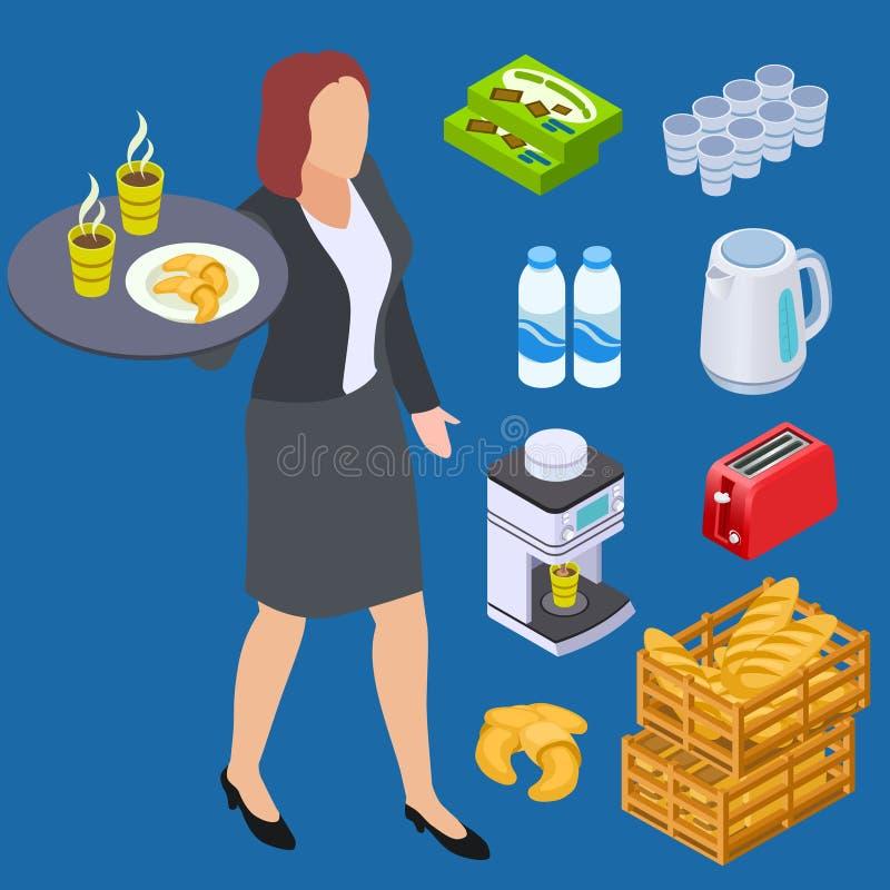 Официант кофейни, молоко, хлеб, элементы вектора продуктов пекарни рав иллюстрация штока