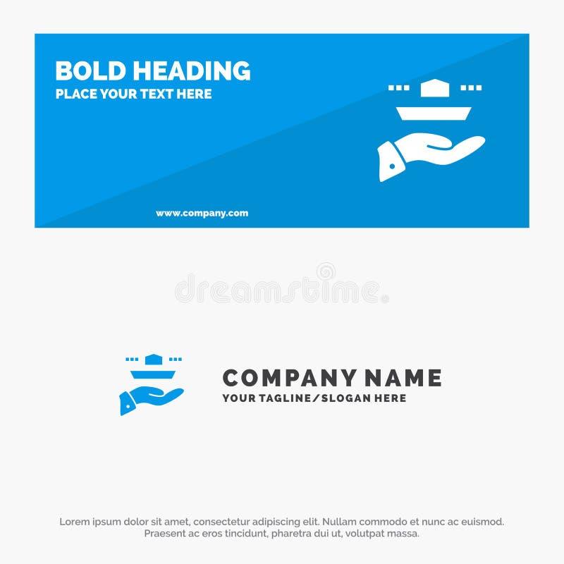 Официант, ресторан, подача, обед, знамя вебсайта значка обедающего твердые и шаблон логотипа дела иллюстрация вектора