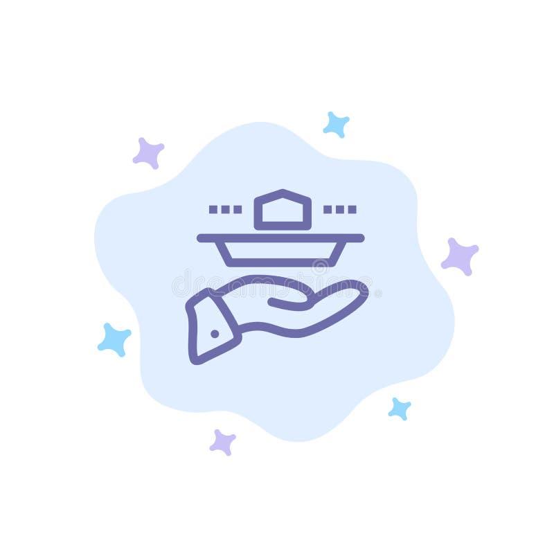 Официант, ресторан, подача, обед, значок обедающего голубой на абстрактной предпосылке облака иллюстрация штока