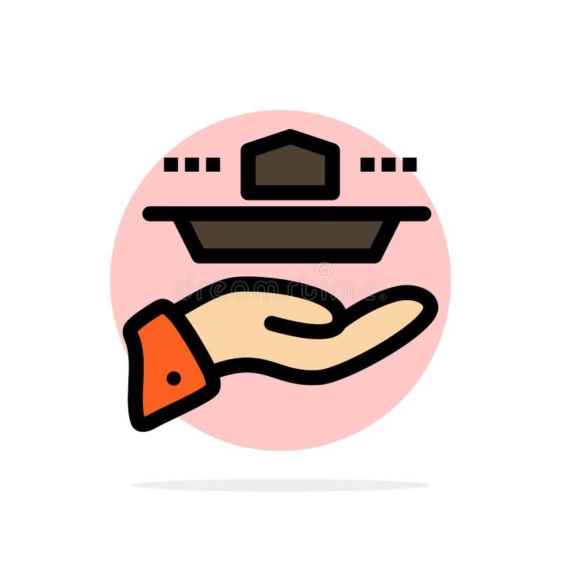 Официант, ресторан, подача, обед, значок цвета предпосылки круга конспекта обедающего плоский иллюстрация вектора
