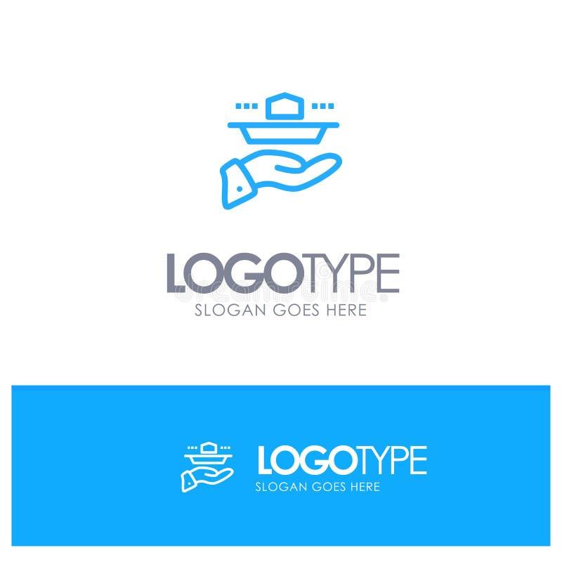 Официант, ресторан, подача, обед, логотип плана обедающего голубой с местом для слогана иллюстрация вектора