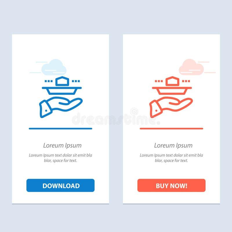 Официант, ресторан, подача, обед, синь обедающего и красная загрузка и купить теперь шаблон карты приспособления сети иллюстрация штока