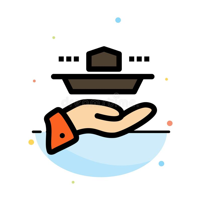Официант, ресторан, подача, обед, шаблон значка цвета конспекта обедающего плоский иллюстрация штока