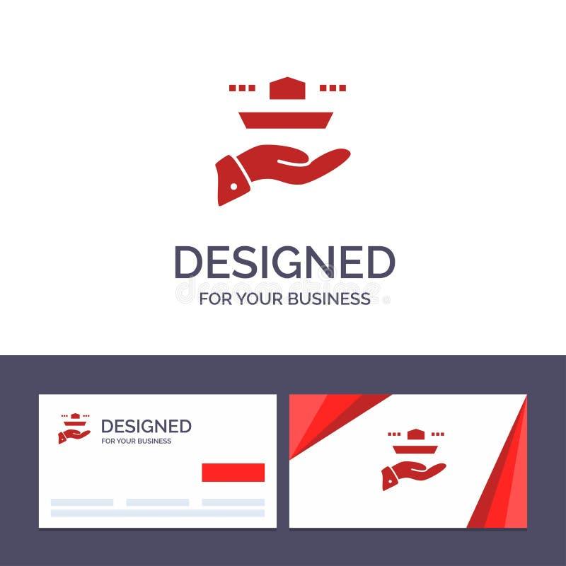 Официант творческого шаблона визитной карточки и логотипа, ресторан, подача, обед, иллюстрация вектора обедающего иллюстрация штока