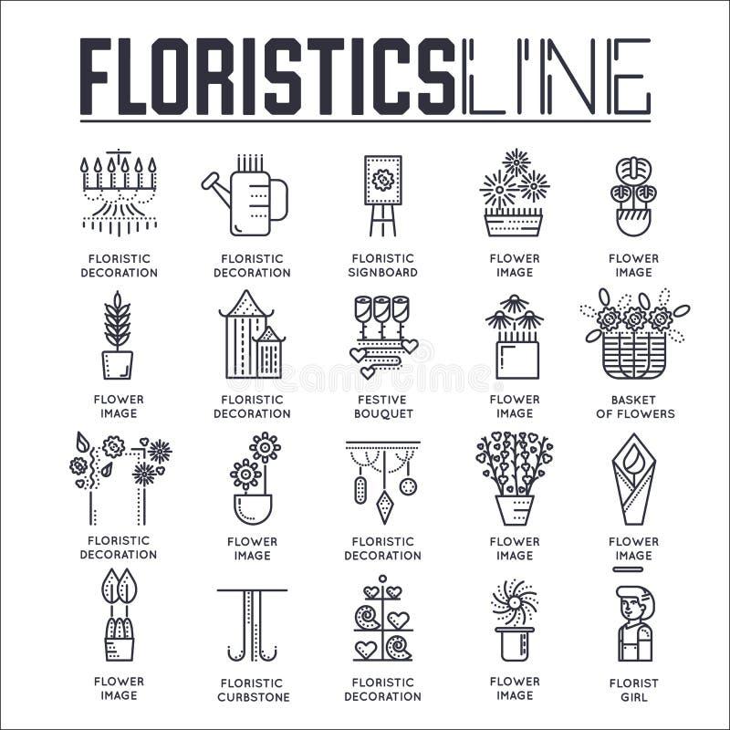 Оформитель плана женщины стоя и работая в красивом магазине цветков Тонкая линия floristic illustratio вектора магазина бесплатная иллюстрация