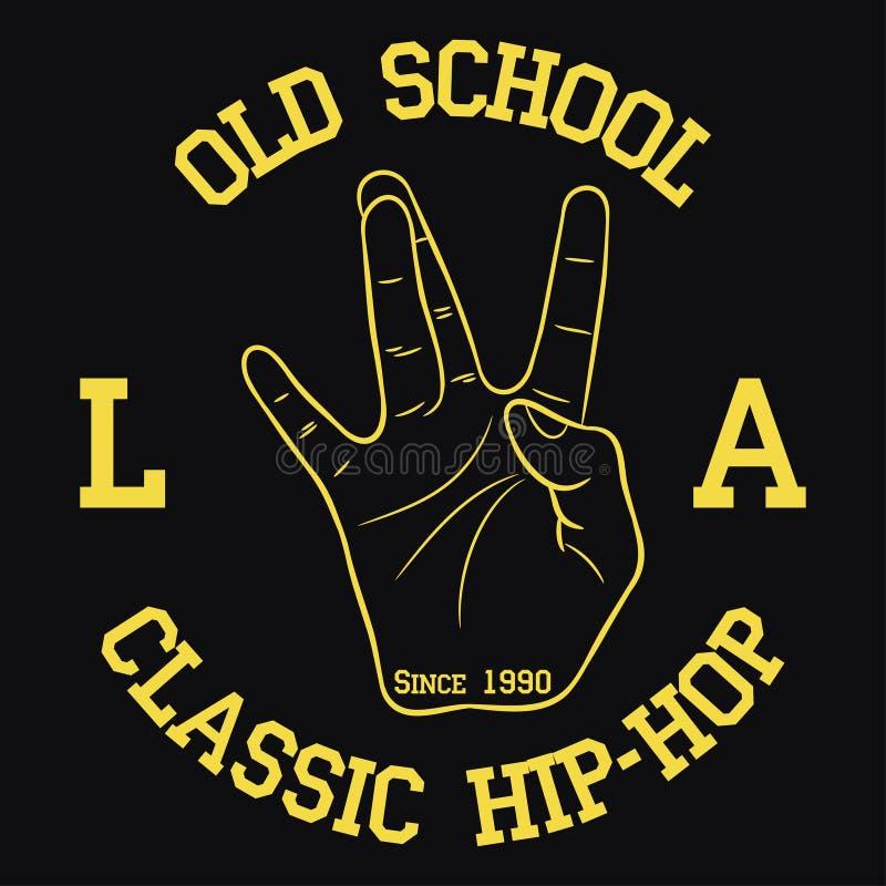 Оформление Бедр-хмеля Лос-Анджелеса для дизайна одевает, футболки Печать с жестом рукой западного побережья также вектор иллюстра иллюстрация штока