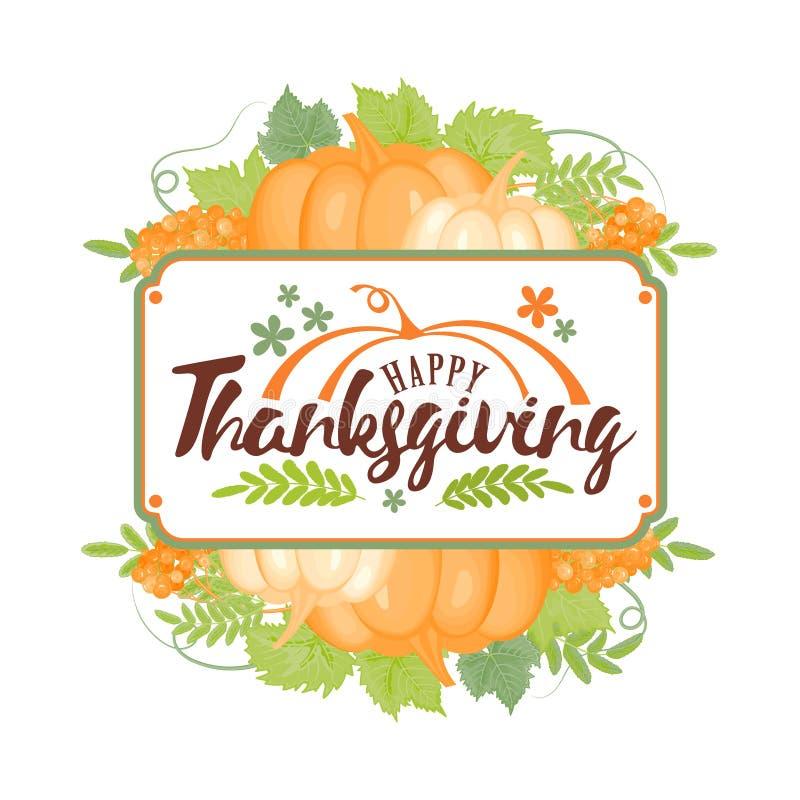 Оформление благодарения Счастливое официальный праздник в США в память первых колонистов Массачусетса - вручите покрашенную литер бесплатная иллюстрация