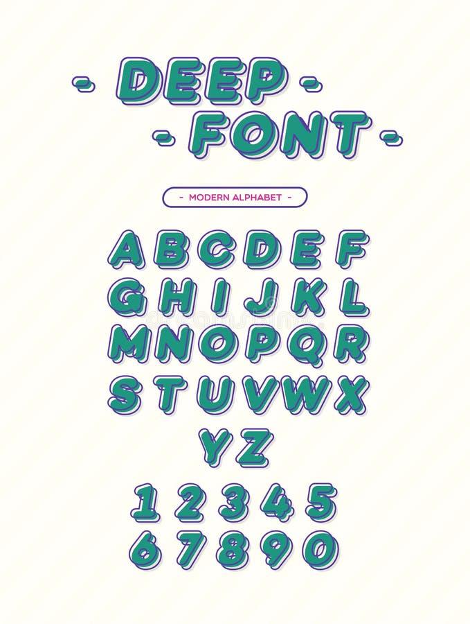 Оформление глубокого шрифта вектора современное стиль 3d наклоненный алфавитом Sans Serif для футболки иллюстрация вектора