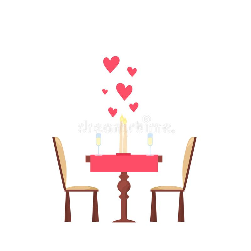Оформление дня ` s валентинки Обедающий для пар в датировка влюбленности Сердце, свеча, шампанское бесплатная иллюстрация