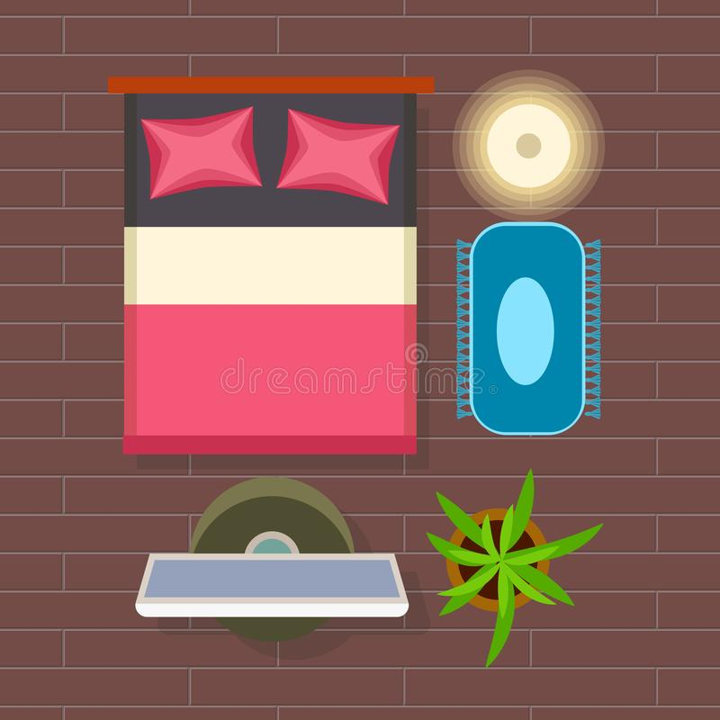 Оформление интерьера спальни на иллюстрации вектора бесплатная иллюстрация