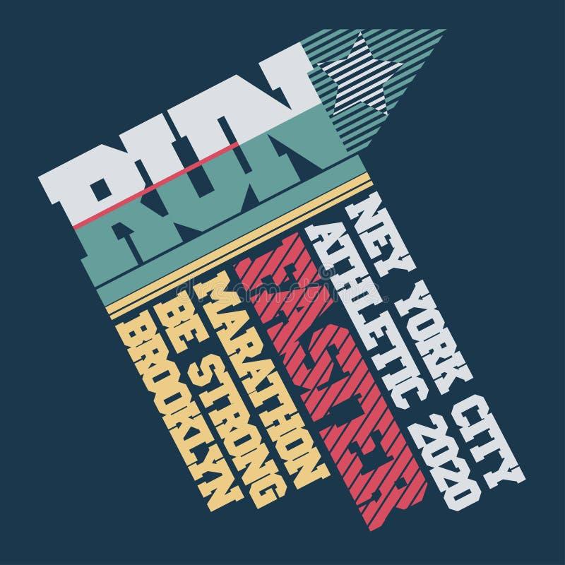 Оформление марафона бега, графики футболки, печать моды спорта, Нью-Йорк r бесплатная иллюстрация