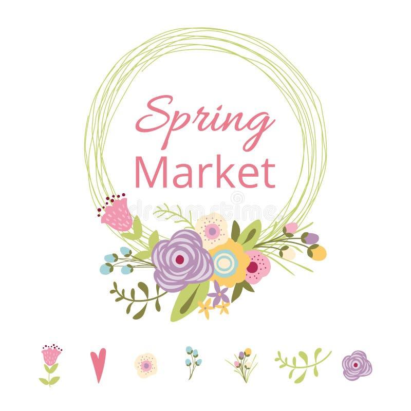 Оформление милой руки цветка иллюстрации вектора рынка весны текста венка весны флористической вычерченное иллюстрация штока