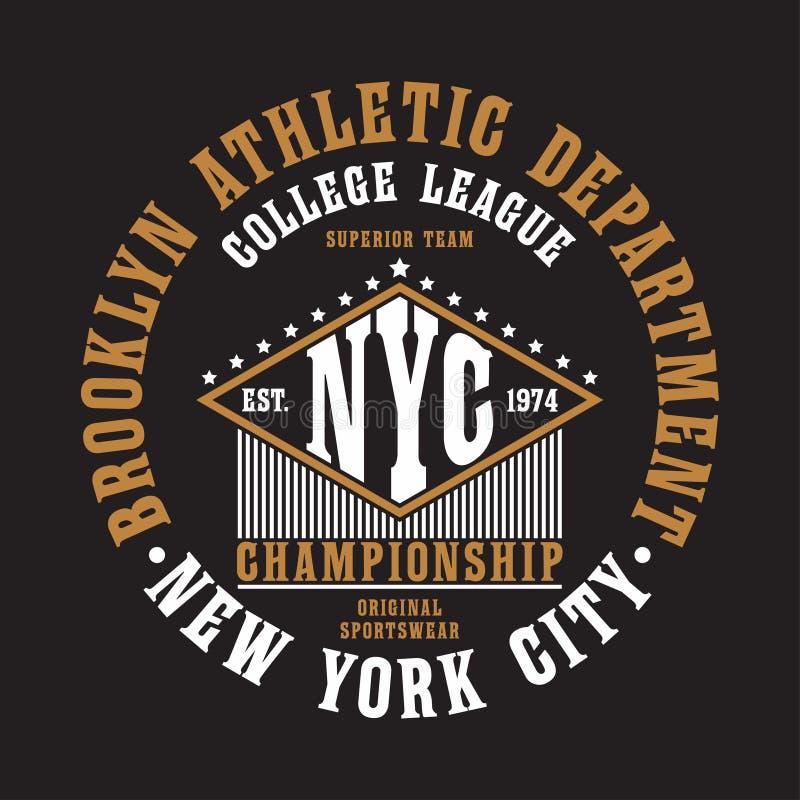 Оформление Нью-Йорка, Бруклина для футболки Первоначально печать sportswear Атлетическое оформление одеяния График NYC вектор бесплатная иллюстрация