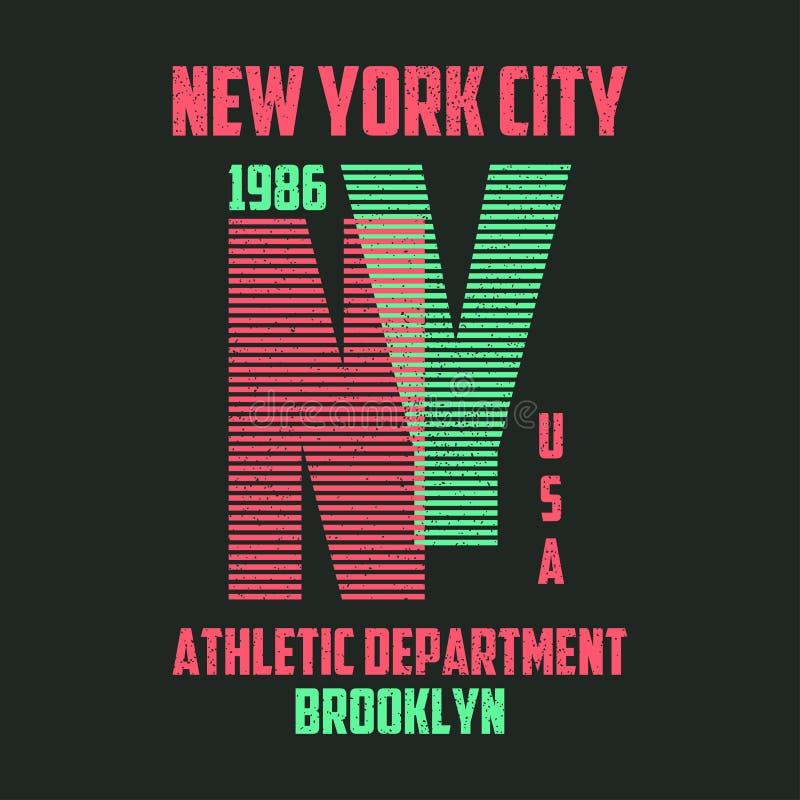 Оформление Нью-Йорка для футболки Графики Бруклина современные для футболки с линиями Лозунг NY для ультрамодной печати одеяния в иллюстрация штока