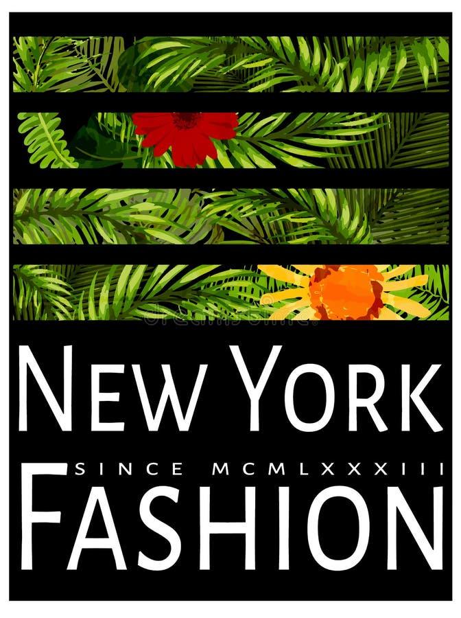 Оформление Нью-Йорка с флористической иллюстрацией График футболки иллюстрация вектора
