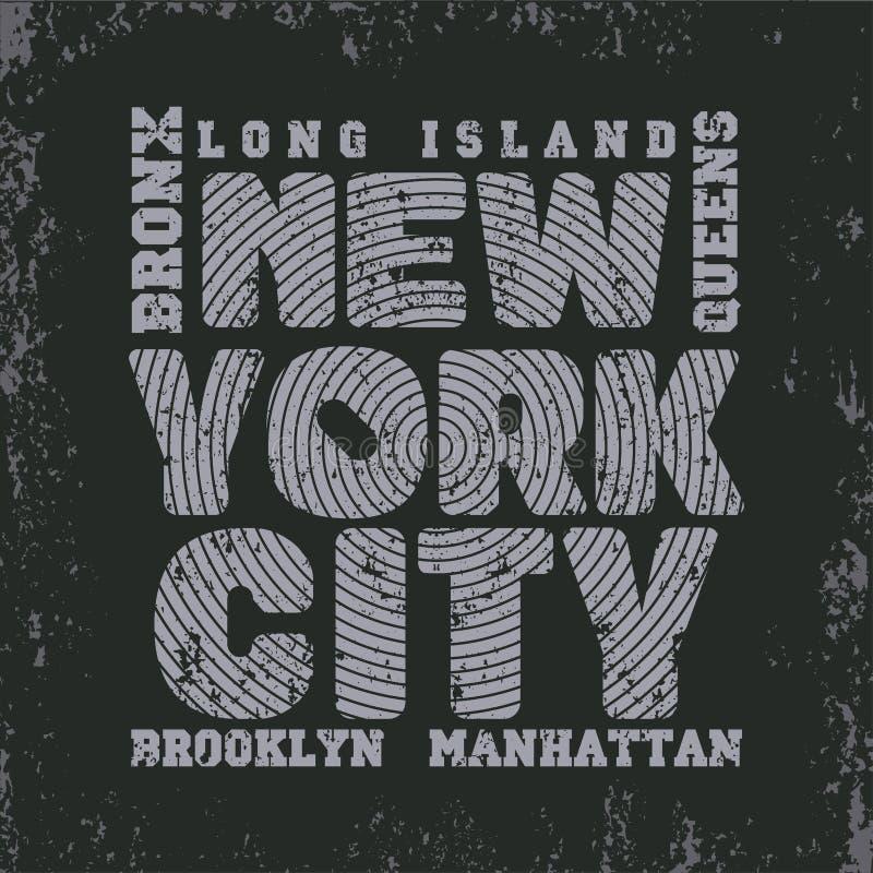 Оформление Нью-Йорка, футболка NY, график дизайна иллюстрация вектора