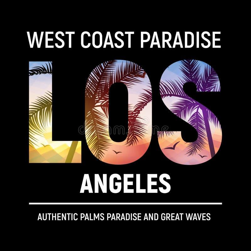Оформление печати футболки графического дизайна пляжа Калифорния Лос-Анджелеса Лето иллюстрации города ЛА прибоя дерева иллюстрация вектора