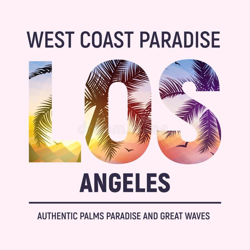 Оформление печати футболки графического дизайна пляжа Калифорния Лос-Анджелеса Лето иллюстрации города ЛА прибоя дерева иллюстрация штока