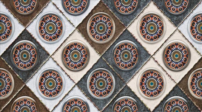 Оформление плитки стены цифров для домашнего, керамического кафельного дизайна, безшовной красочной заплатки в турецком стиле Инд иллюстрация вектора