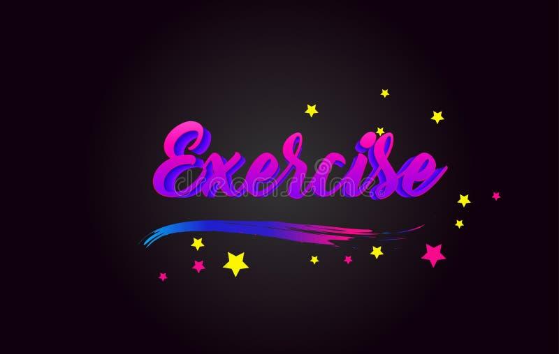 Оформление пурпура тренировки рукописное помечая буквами Слово для логотипа, значка, значка, карты, открытки, логотипа, знамени,  бесплатная иллюстрация