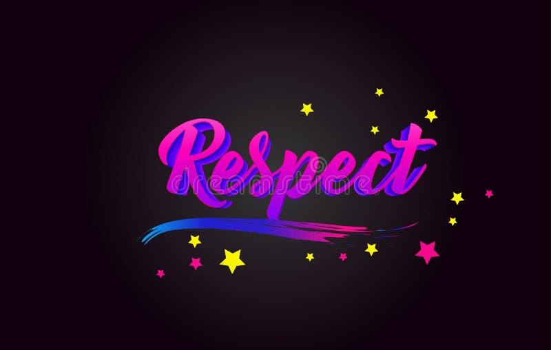 Оформление пурпура уважения рукописное помечая буквами Слово для логотипа, значка, значка, карты, открытки, логотипа, знамени, ве иллюстрация вектора