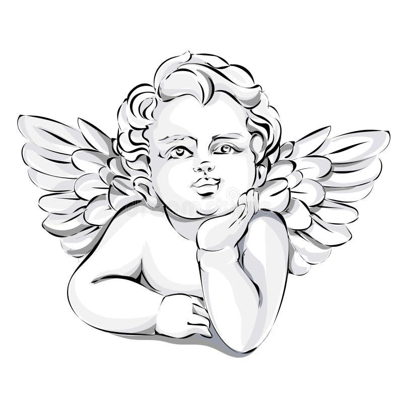 маленькие ангелочки картинки черно белые отметить