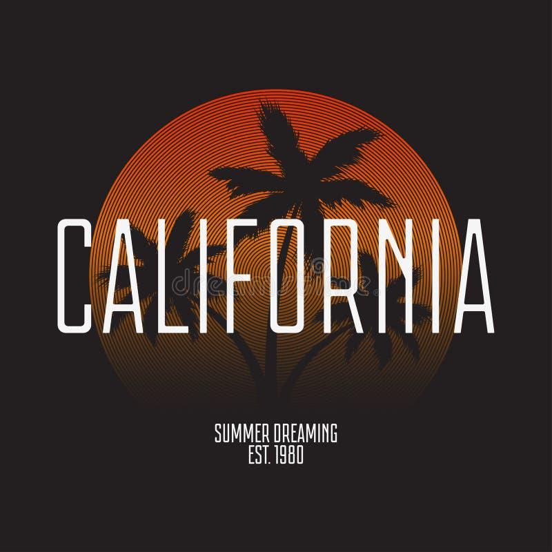 Оформление футболки Калифорнии Современная печать для графиков футболки с пальмами и градиентом Ультрамодный штемпель одеяния век иллюстрация вектора