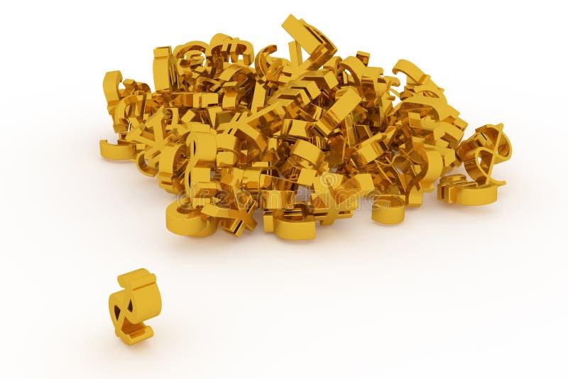 Оформление CGI, деньги знака валюты или выгода для текстуры дизайна, предпосылки Золото, пук, беспорядок & дело бесплатная иллюстрация