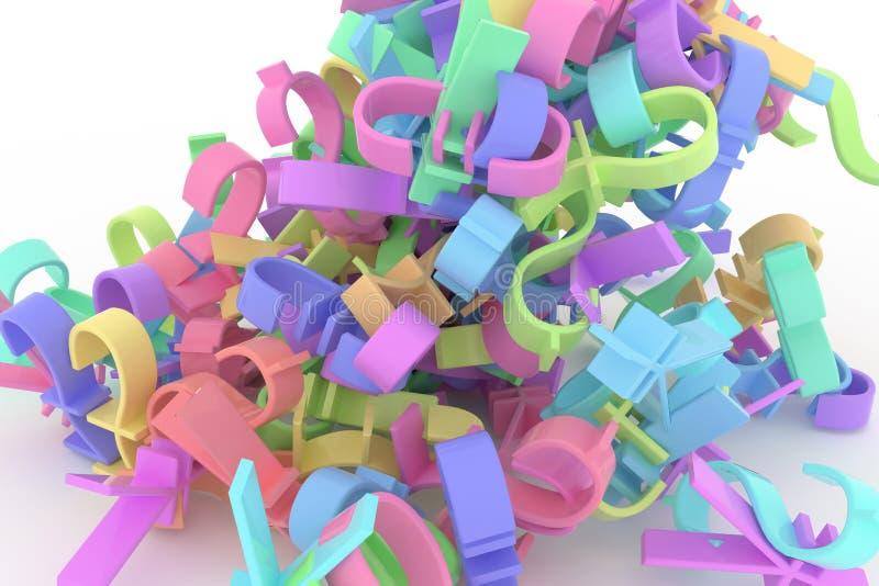Оформление CGI, деньги знака валюты или выгода для текстуры дизайна, предпосылки Представлять, красочный, 3d & творческие способн бесплатная иллюстрация