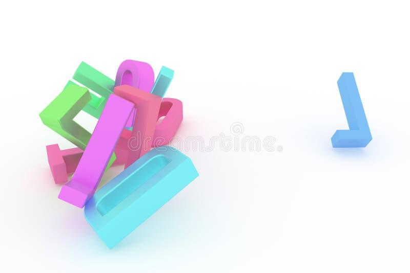 Оформление CGI конспекта предпосылки, алфавитный знак для письма ABC хорошего для дизайна Пук, дело, 3d & сообщение иллюстрация штока