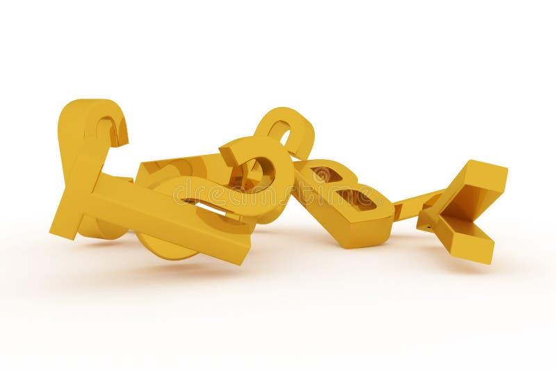 Оформление CGI конспекта предпосылки, алфавитный знак для письма ABC хорошего для дизайна Золото, 3d, беспорядок & детский сад иллюстрация вектора