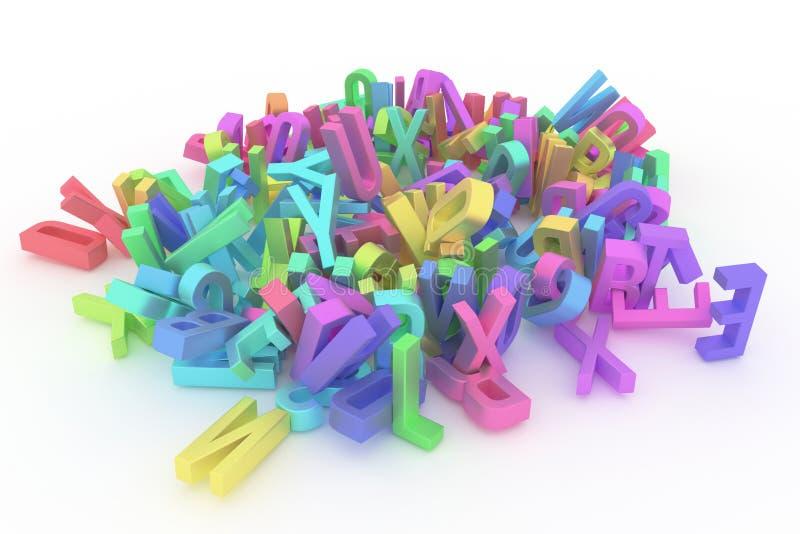 Оформление CGI, письмо алфавитного знака ABC для текстуры дизайна, предпосылки Цифров, куча, символ & дело иллюстрация вектора