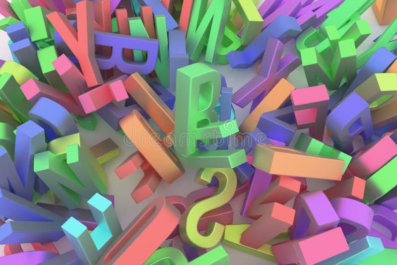 Оформление CGI, письмо алфавитного знака ABC для текстуры дизайна, предпосылки Обои, художественное произведение, беспорядок & на иллюстрация штока