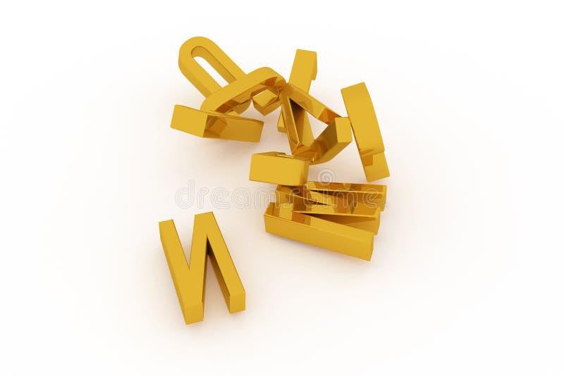 Оформление CGI, письмо алфавитного знака ABC для текстуры дизайна, предпосылки Концепция, учит, моделирование & название иллюстрация штока