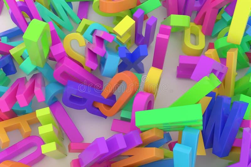 Оформление CGI, письмо ABC, алфавита для текстуры дизайна, задней части иллюстрация штока