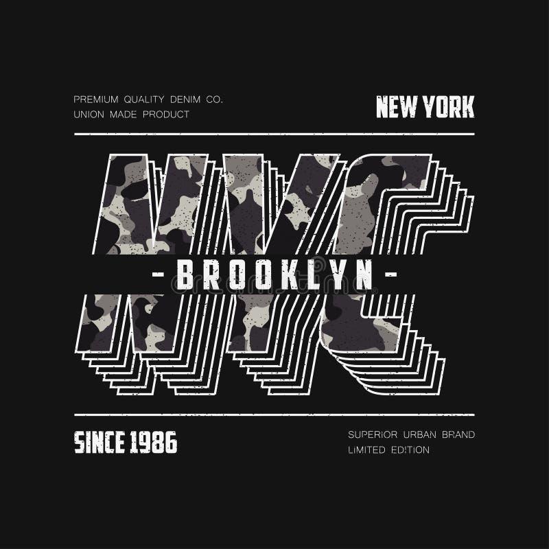 Оформление NYC современное с текстурой камуфлирования Лозунг camo Нью-Йорка для футболки Графики футболки Бруклина r иллюстрация штока