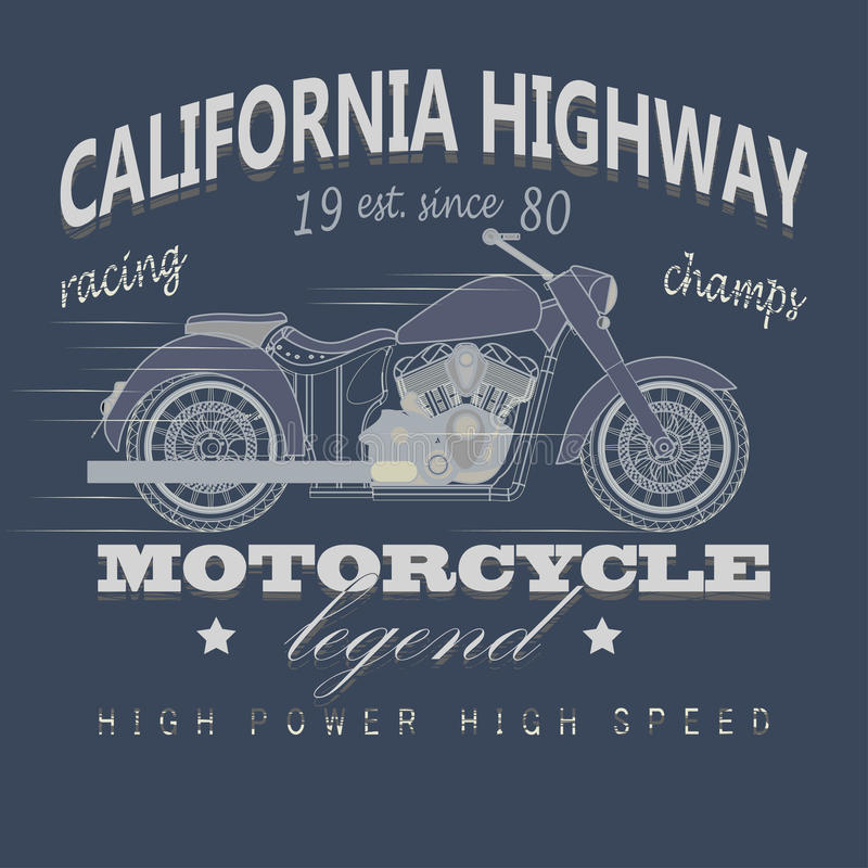 Оформление гонок мотоцикла, шоссе Калифорнии иллюстрация штока