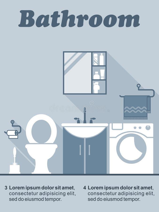 Оформление интерьера ванной комнаты плоское infographic иллюстрация вектора
