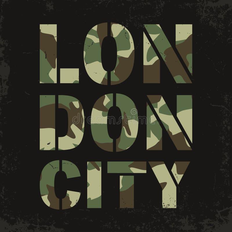 Оформление камуфлирования для печати футболки Лондон, университетская спортивная команда, атлетические графики футболки бесплатная иллюстрация