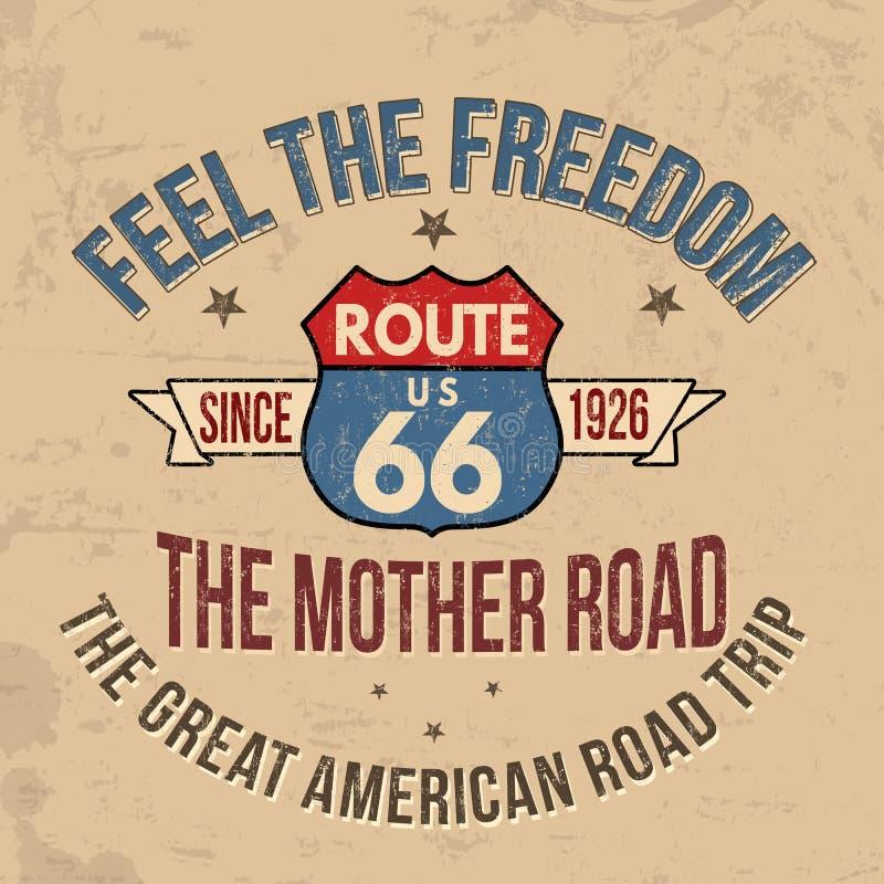 Оформление трассы 66 для печати футболки бесплатная иллюстрация