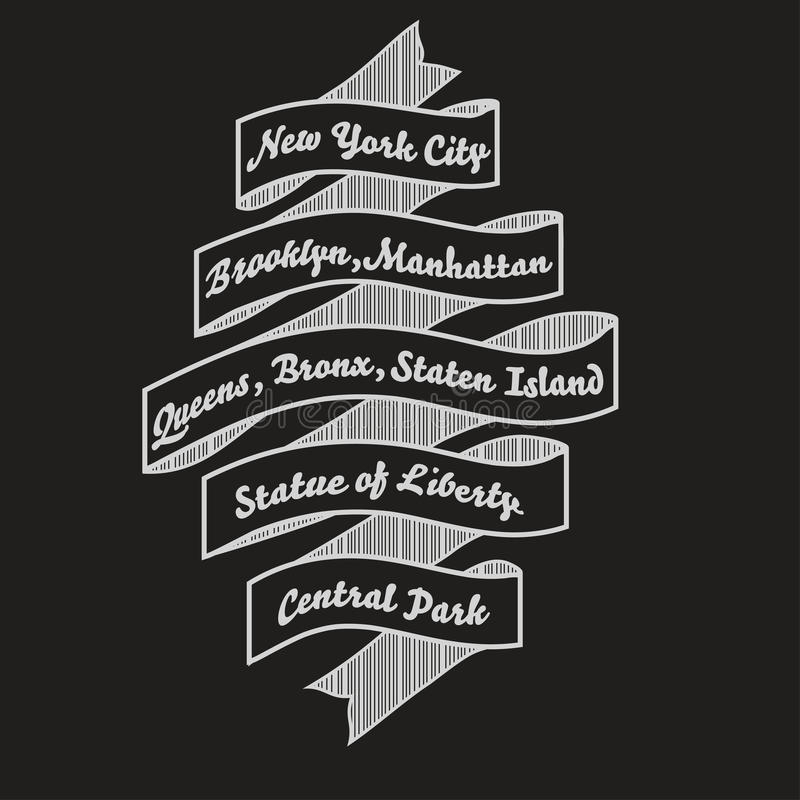 Оформление футболки Нью-Йорка, печать моды nyc вектор иллюстрация вектора