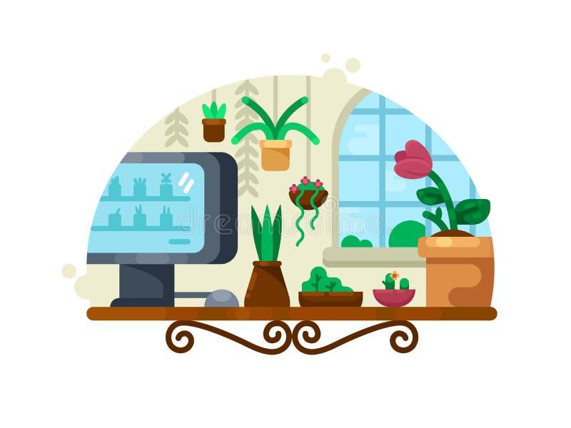 Оформление цветка с зелеными растениями иллюстрация штока