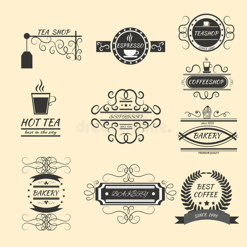 Оформления дизайна логотипа ярлыков кофе st ретро винтажного старый иллюстрация вектора