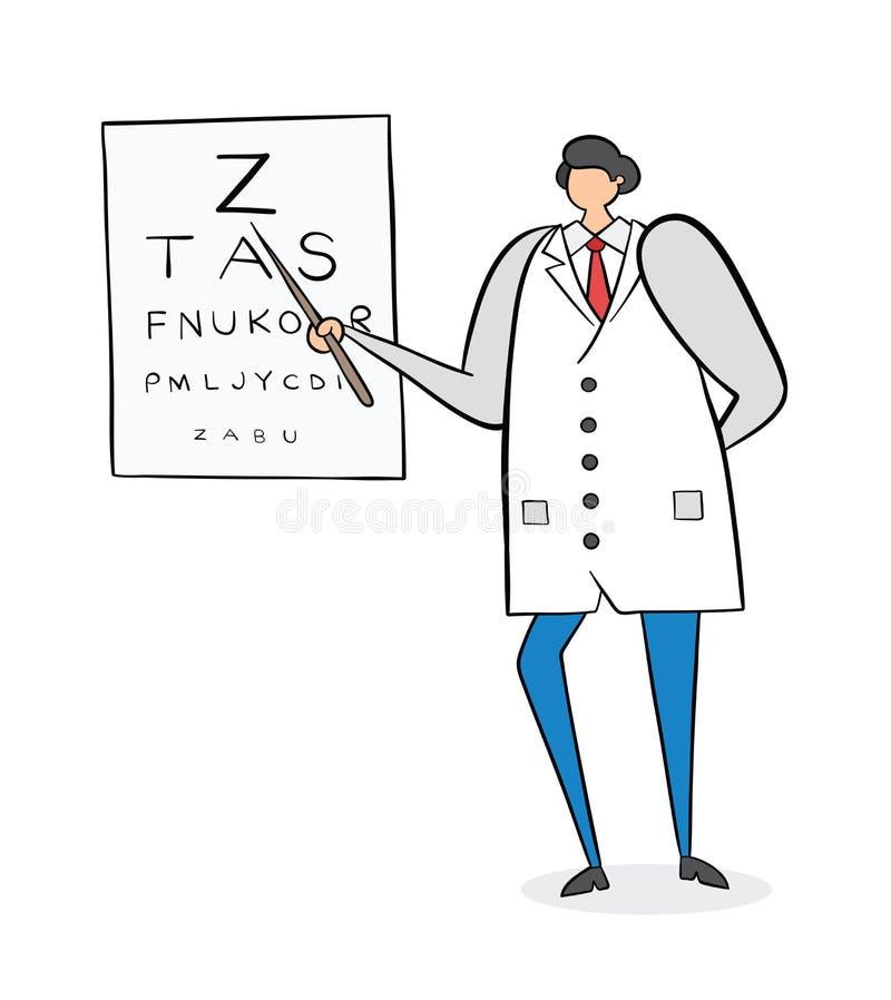 Офтальмолог показывая письма на диаграмме глаза, нарисованной вручную иллюстрации вектора Черные планы и цвет бесплатная иллюстрация