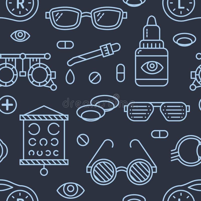 Офтальмология, картина здравоохранения глаз безшовная, медицинская предпосылка темноты вектора Оборудование Optometry, контактные иллюстрация штока